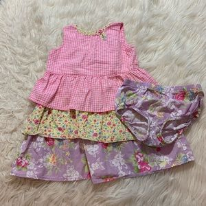 Hanna Andersson floral dress toddler sz 90 2 piece